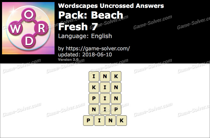 Wordscapes Uncrossed Beach-Fresh 7 Answers