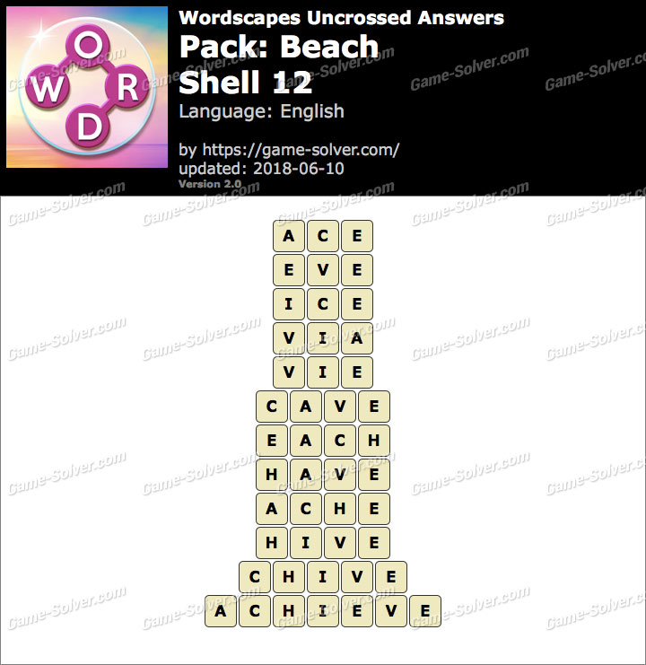 Wordscapes Uncrossed Beach-Shell 12 Answers