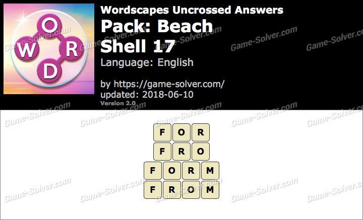 Wordscapes Uncrossed Beach-Shell 17 Answers
