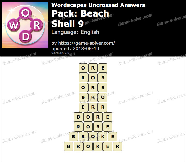 Wordscapes Uncrossed Beach-Shell 9 Answers