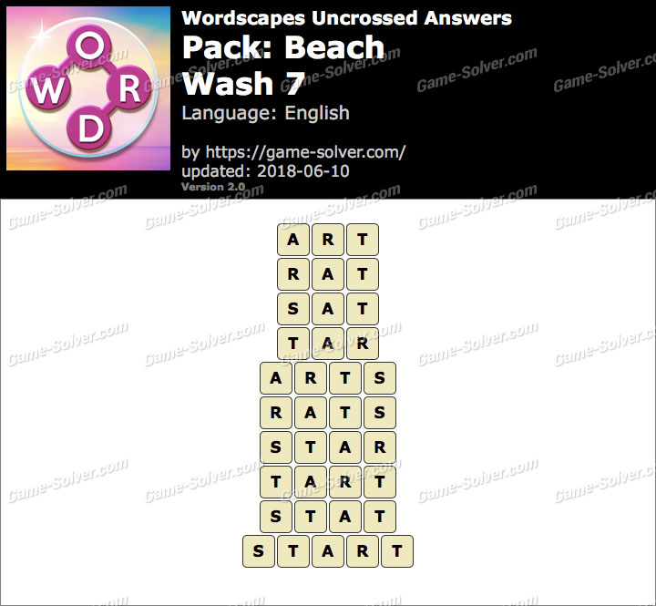 Wordscapes Uncrossed Beach-Wash 7 Answers