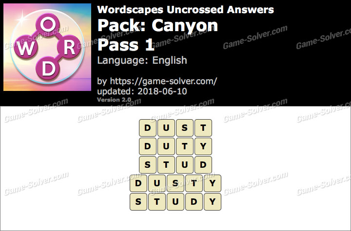 Wordscapes Uncrossed Canyon-Pass 1 Answers