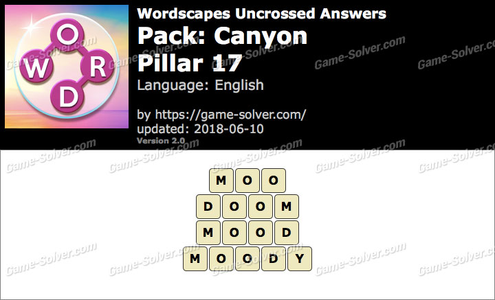 Wordscapes Uncrossed Canyon-Pillar 17 Answers