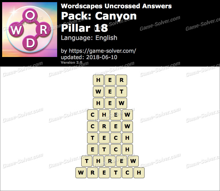 Wordscapes Uncrossed Canyon-Pillar 18 Answers