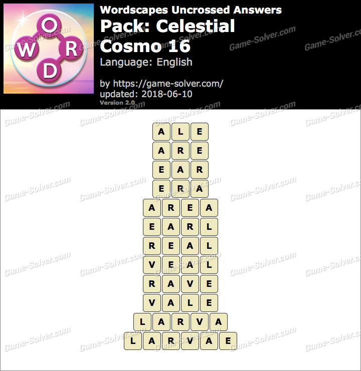 Wordscapes Uncrossed Celestial-Cosmo 16 Answers