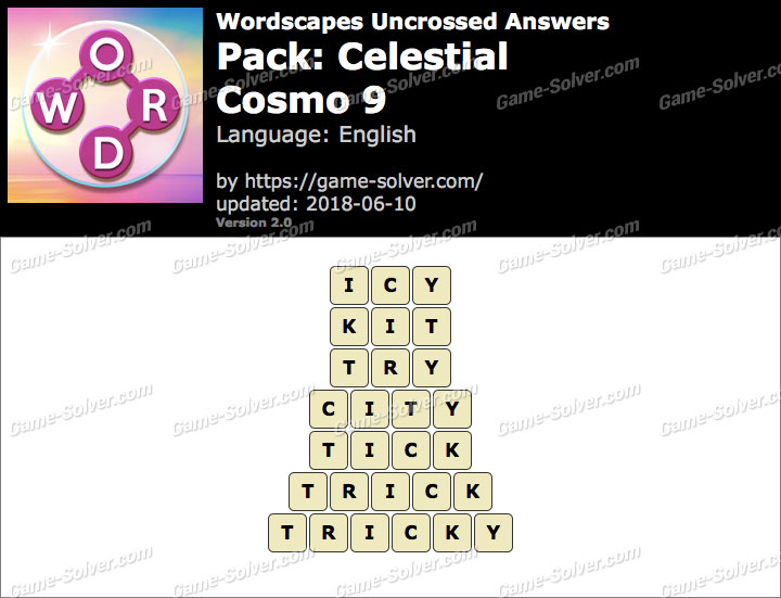 Wordscapes Uncrossed Celestial-Cosmo 9 Answers