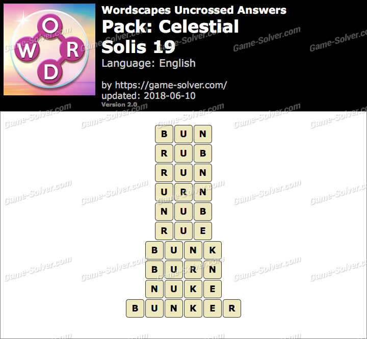 Wordscapes Uncrossed Celestial-Solis 19 Answers