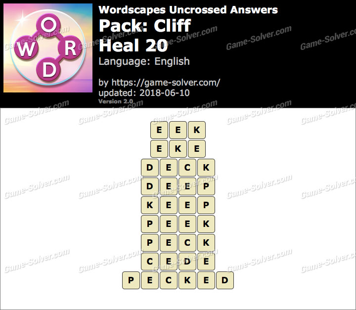 Wordscapes Uncrossed Cliff-Heal 20 Answers