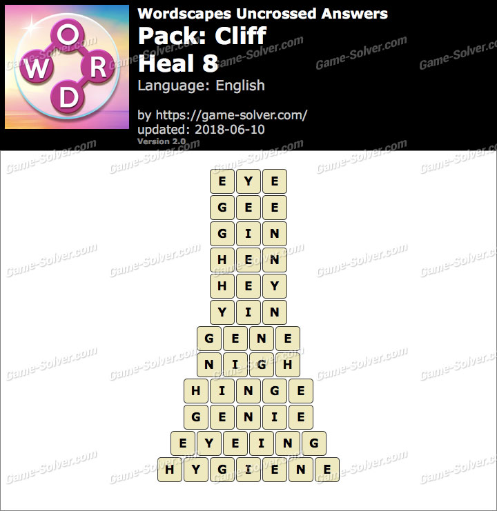 Wordscapes Uncrossed Cliff-Heal 8 Answers