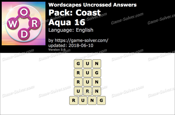 Wordscapes Uncrossed Coast-Aqua 16 Answers