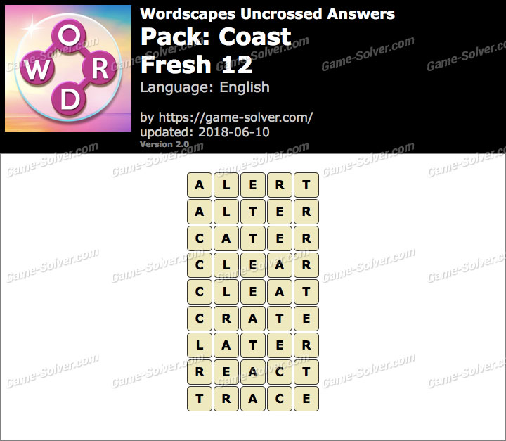 Wordscapes Uncrossed Coast-Fresh 12 Answers