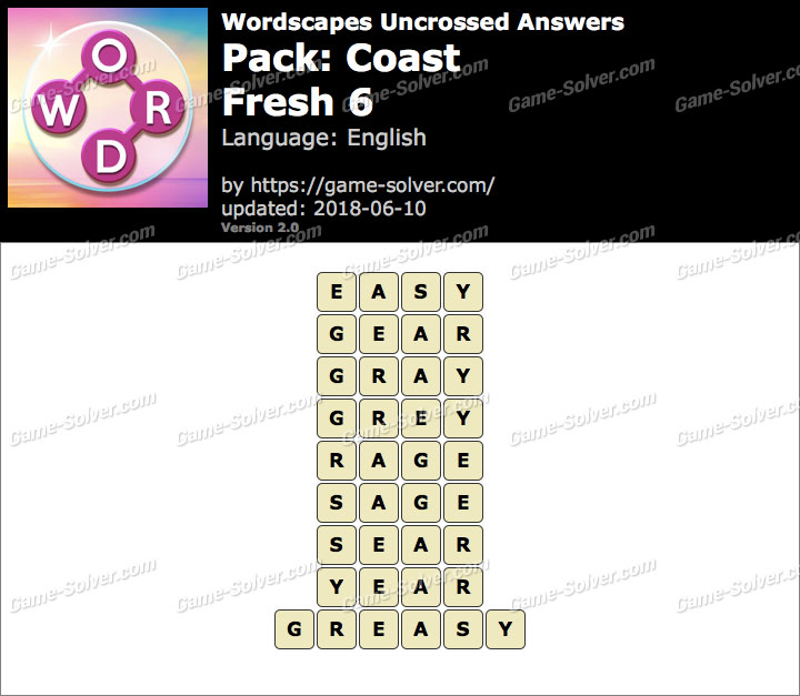 Wordscapes Uncrossed Coast-Fresh 6 Answers