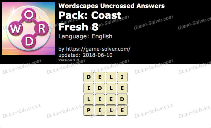 Wordscapes Uncrossed Coast-Fresh 8 Answers