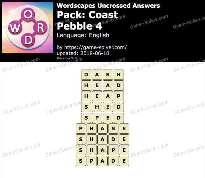 Wordscapes Uncrossed Coast-Pebble 4 Answers