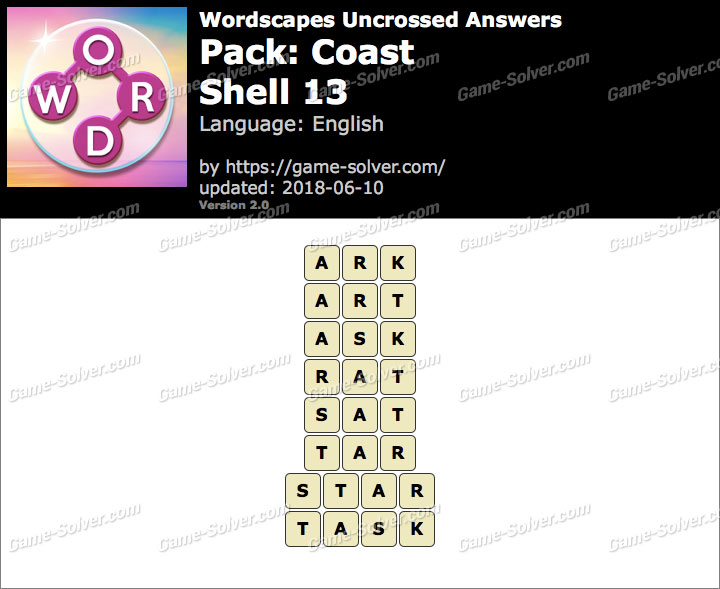 Wordscapes Uncrossed Coast-Shell 13 Answers