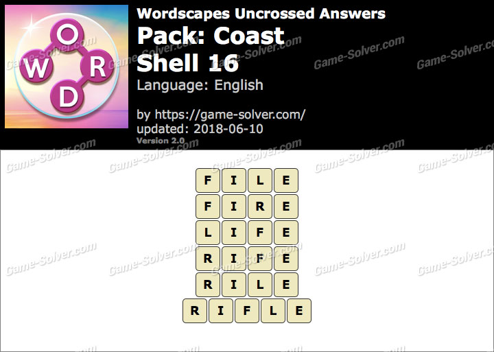 Wordscapes Uncrossed Coast-Shell 16 Answers
