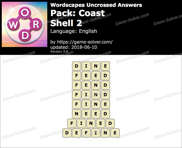 Wordscapes Uncrossed Coast-Shell 2 Answers