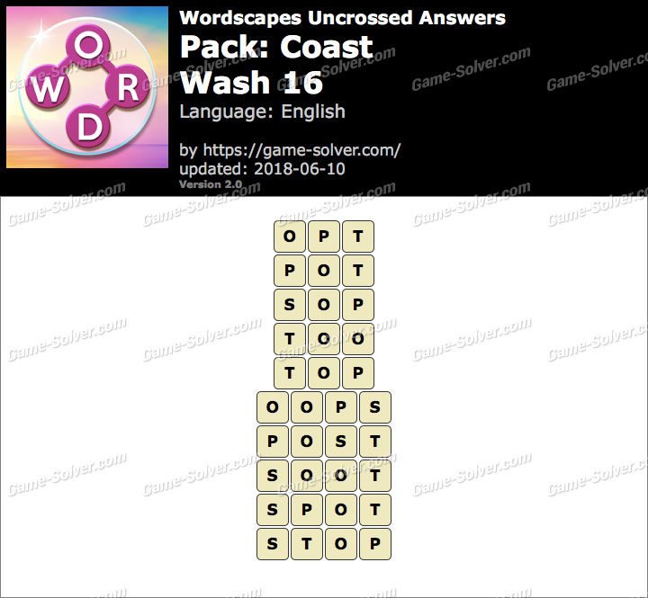 Wordscapes Uncrossed Coast-Wash 16 Answers