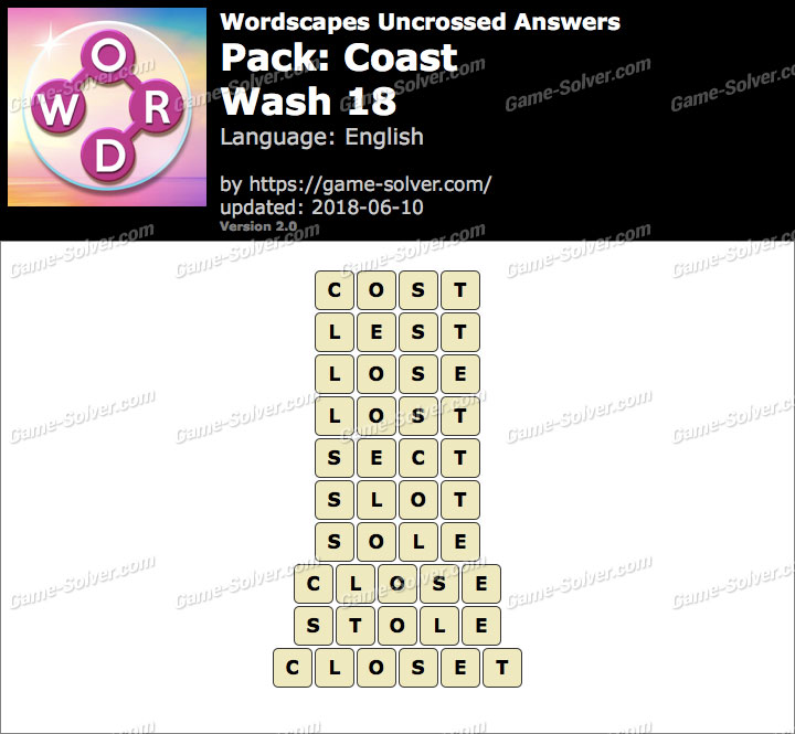 Wordscapes Uncrossed Coast-Wash 18 Answers