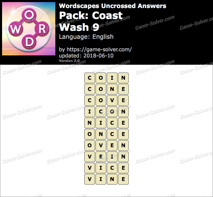 Wordscapes Uncrossed Coast-Wash 9 Answers