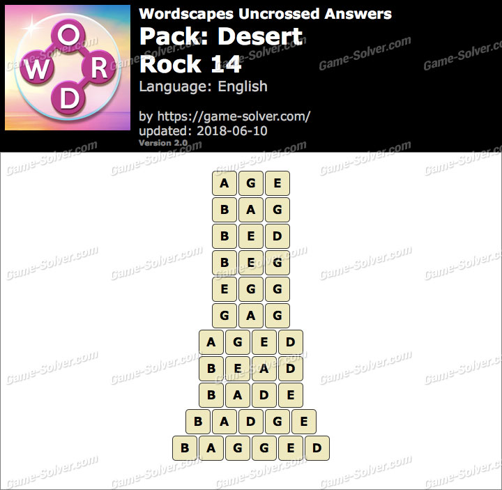 Wordscapes Uncrossed Desert-Rock 14 Answers