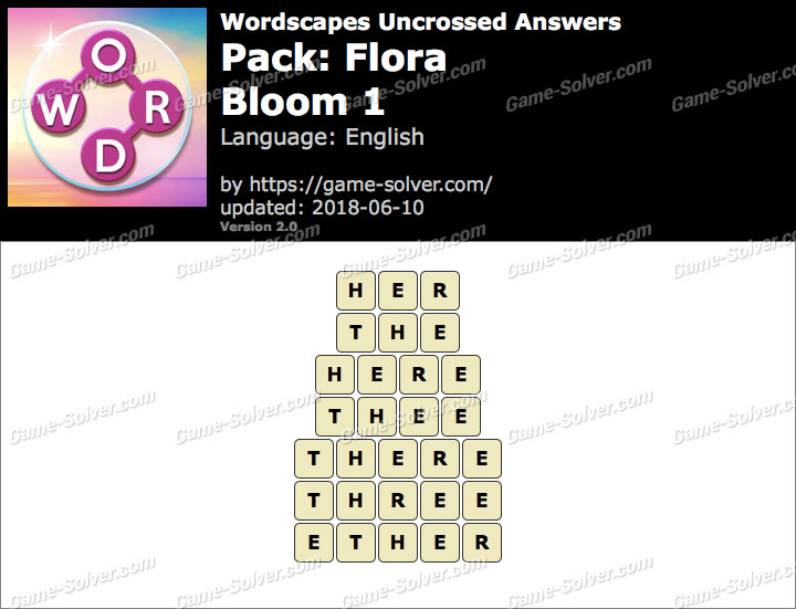 Wordscapes Uncrossed Flora-Bloom 1 Answers