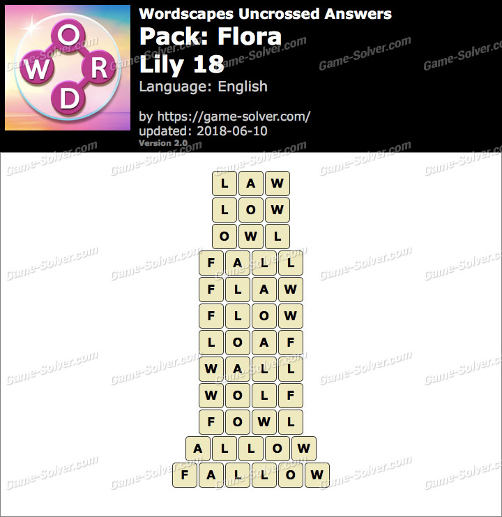 Wordscapes Uncrossed Flora-Lily 18 Answers