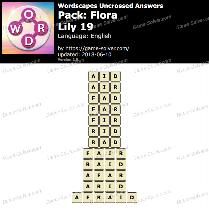 Wordscapes Uncrossed Flora-Lily 19 Answers