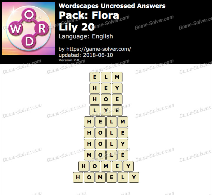 Wordscapes Uncrossed Flora-Lily 20 Answers