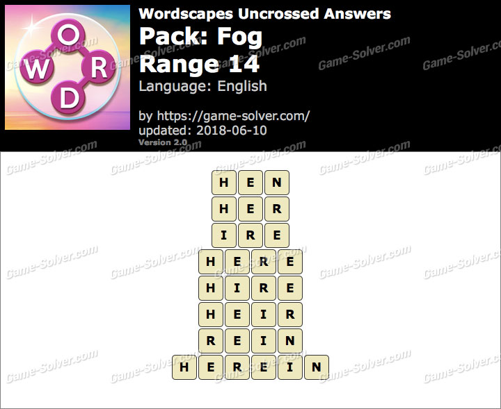 Wordscapes Uncrossed Fog-Range 14 Answers