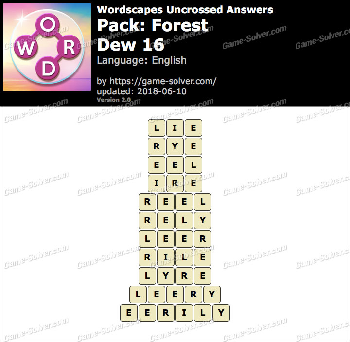 Wordscapes Uncrossed Forest-Dew 16 Answers