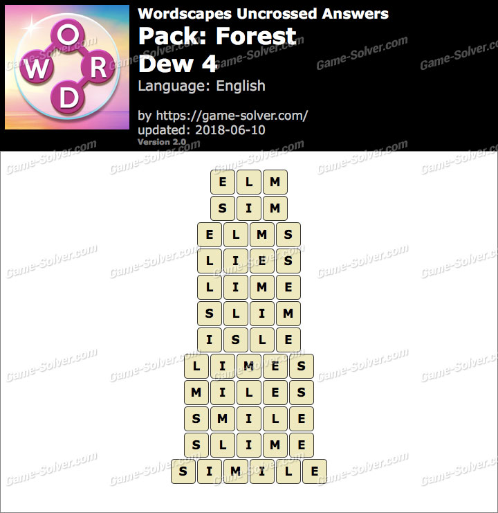 Wordscapes Uncrossed Forest-Dew 4 Answers