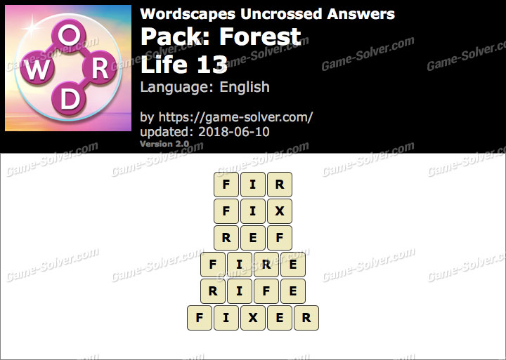 Wordscapes Uncrossed Forest-Life 13 Answers