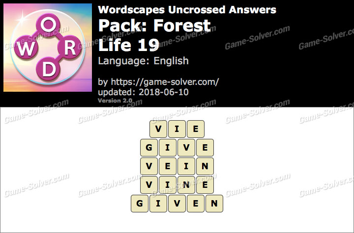 Wordscapes Uncrossed Forest-Life 19 Answers