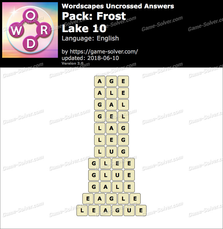 Wordscapes Uncrossed Frost-Lake 10 Answers