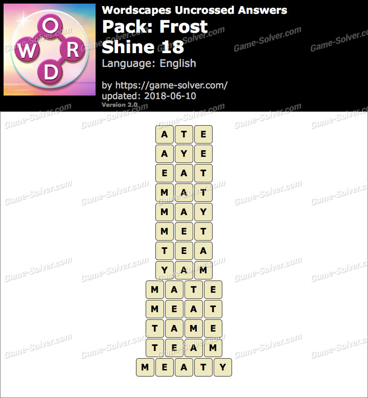 Wordscapes Uncrossed Frost-Shine 18 Answers