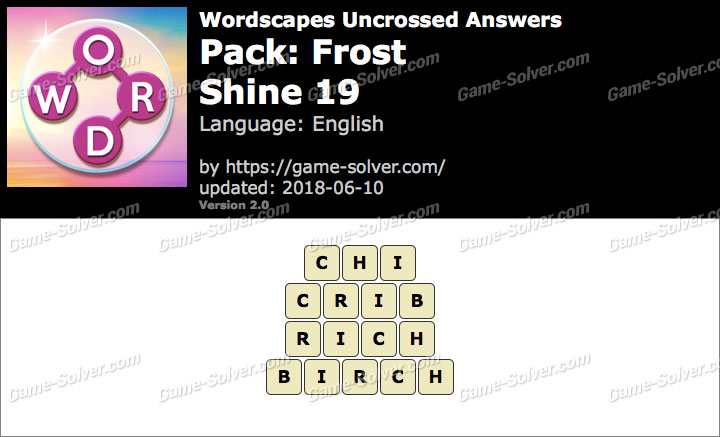 Wordscapes Uncrossed Frost-Shine 19 Answers