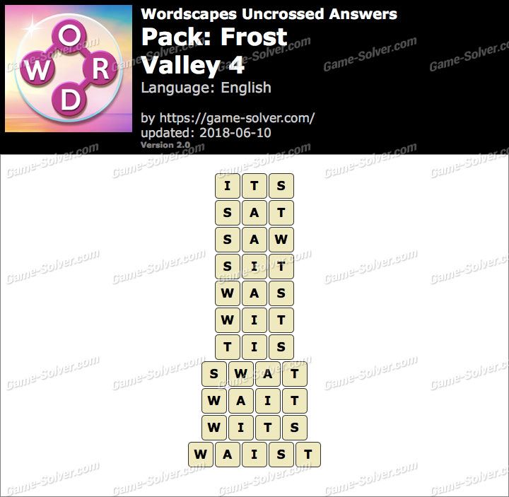 Wordscapes Uncrossed Frost-Valley 4 Answers