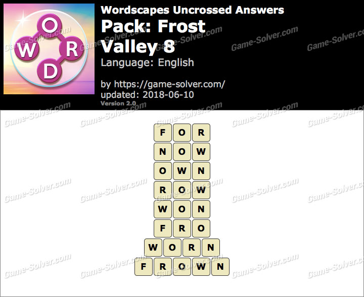 Wordscapes Uncrossed Frost-Valley 8 Answers