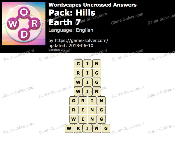 Wordscapes Uncrossed Hills-Earth 7 Answers