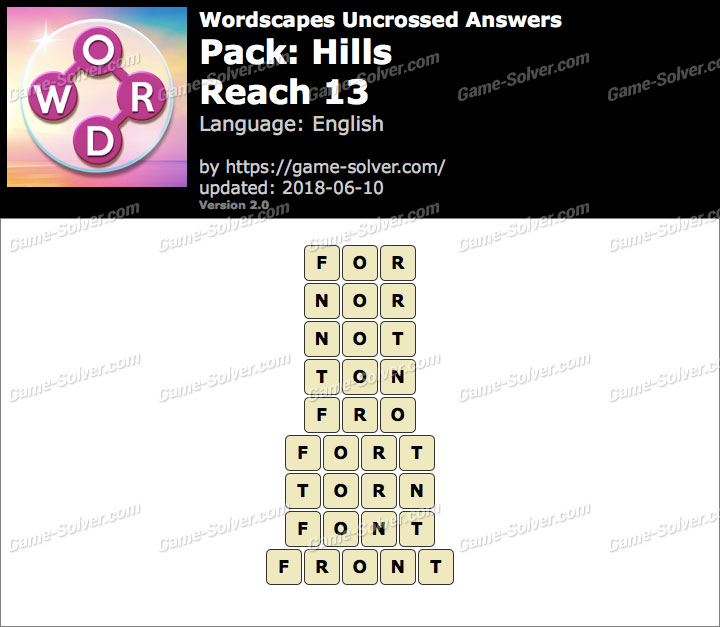 Wordscapes Uncrossed Hills-Reach 13 Answers