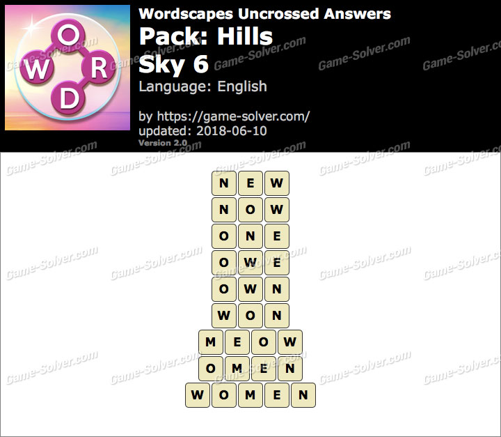 Wordscapes Uncrossed Hills-Sky 6 Answers