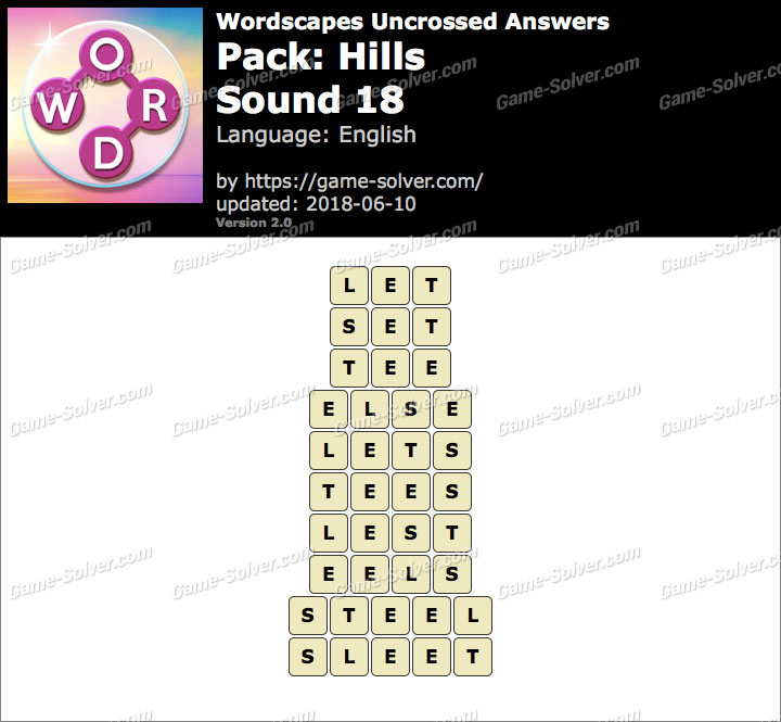 Wordscapes Uncrossed Hills-Sound 18 Answers