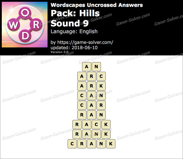 Wordscapes Uncrossed Hills-Sound 9 Answers