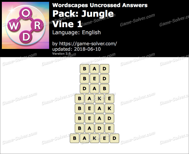 Wordscapes Uncrossed Jungle-Vine 1 Answers