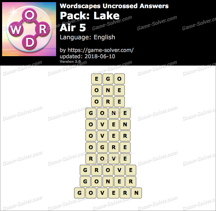 Wordscapes Uncrossed Lake-Air 5 Answers