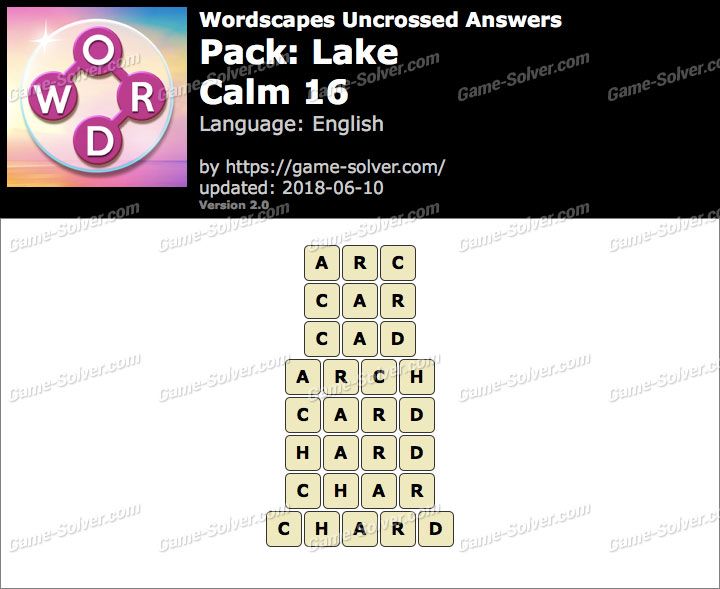 Wordscapes Uncrossed Lake-Calm 16 Answers
