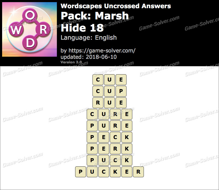 Wordscapes Uncrossed Marsh-Hide 18 Answers