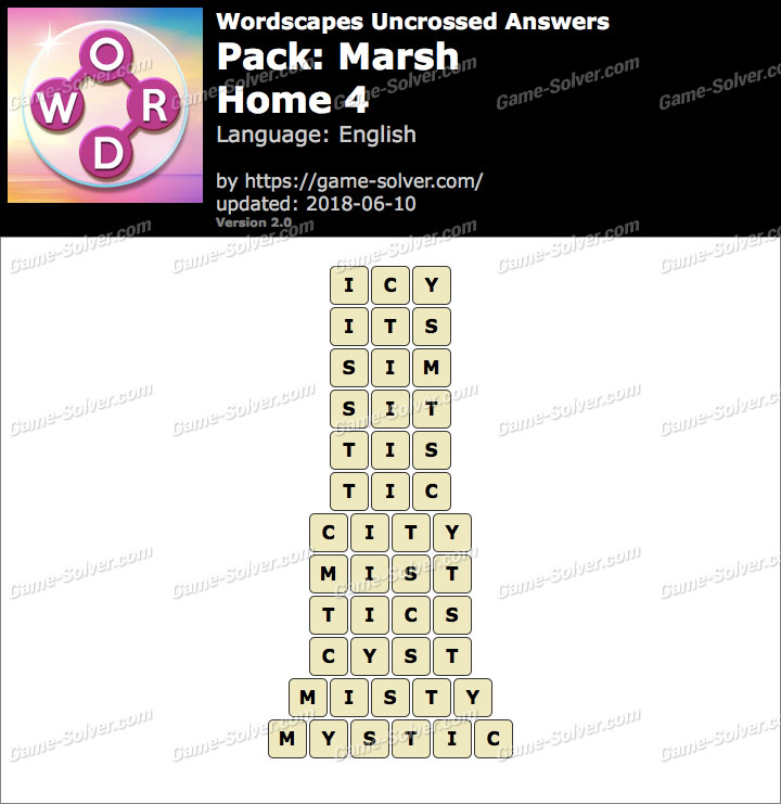 Wordscapes Uncrossed Marsh-Home 4 Answers