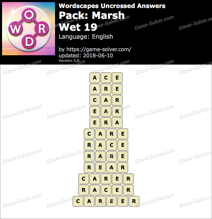 Wordscapes Uncrossed Marsh-Wet 19 Answers